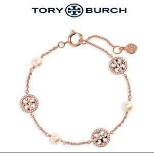 🆕️ ■Tory Burch■Rose Gold Pearl Logo Bracelet